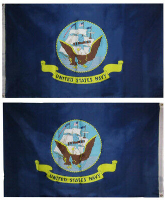3X5 US Navy OFFICIAL LOGO DOUBLE SIDED 2ply FLAG 3ft x 5ft Banner GROMMETS
