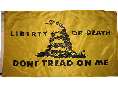 LIBERTY OR DEATH 3'x5' BLACK AND GOLD DONT TREAD ON ME TEA PARTY FLAG 3X5