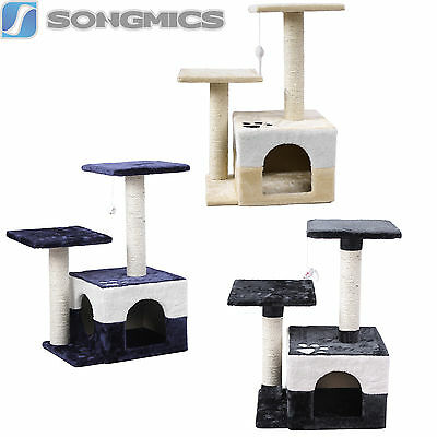 Songmics Arbre à chat Griffoir Niches Hauteur 68cm Beige Gris Bleu