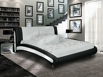 belinda bett polsterbett 140x200 singlebett kunstleder wei schwarz geschwungen eur 259 00. Black Bedroom Furniture Sets. Home Design Ideas