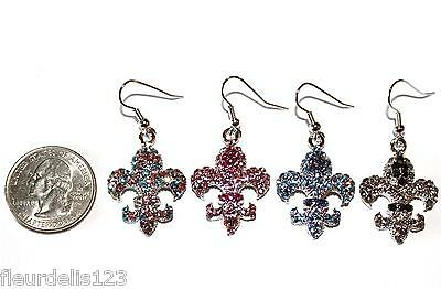Beautiful Large Rhinestone Fleur de lis Hook Earrings- Choose Color