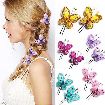 Wedding Bridal Butterfly Crystal Hair Clips Hair pin Barrette Newly Accessories