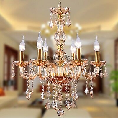 Modern Contemporary Crystal Pendant Light LED Ceiling Lamp Chandelier Lighting
