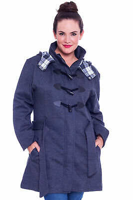 New Womens Jacket Ladies Duffle Coat Toggle Warm Plus Size Military Nouvelle