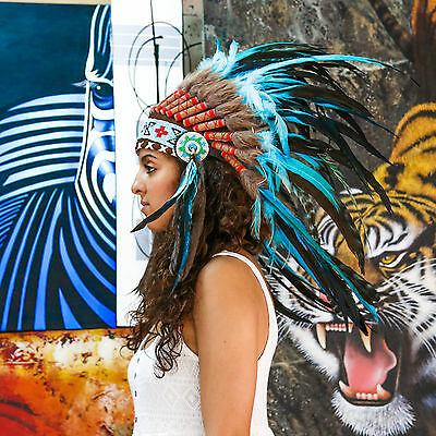 Indian Headdress/ Native American Chief Costume - 75cm Real Feather War Bonnet