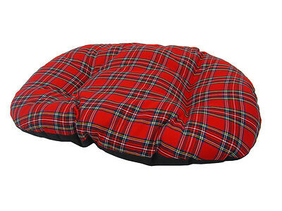 MEDIUM RED TARTAN Cotton Dog Cat Bed Cushion To Put In Bottom Of Basket UK Made