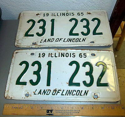 Illinois Metal License Plate, pair of 1965 plates Land of Lincoln  plate 231 232