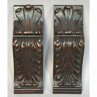 Antique Pair French Carved Walnut Architectural Salvaged Decorative Accents