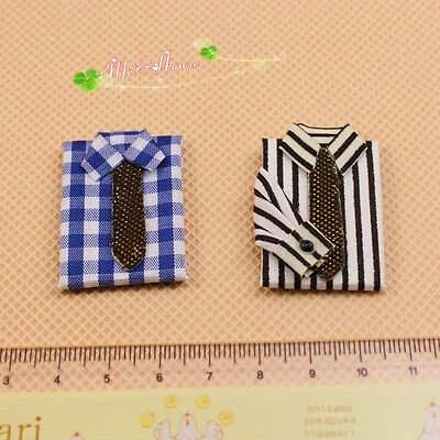 1/12 Dollhouse Miniature Folded Striped/Plaid shirt clothes 2pieces