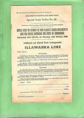 #d133. Nsw Railway Illawarra Line Train Arrangements For 1963 Royal Visit