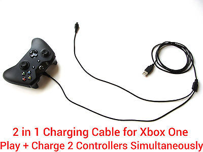3M Long 2 in1 USB charging charger + play cable lead for Xbox One Controller