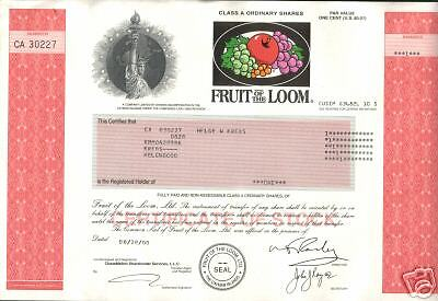RARE MuLtiCoLoR FRUIT OF THE LOOM BERKSHIRE HATHAWAY STOCK w STAT OF LIB cv $200