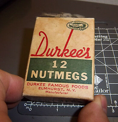 Vintage box Durkees 12 Nutmegs - all 12 still in box ! cool old collectible