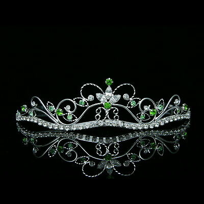 Bridal Green Rhinestone Crystal Flower Prom Wedding Crown Tiara 8376