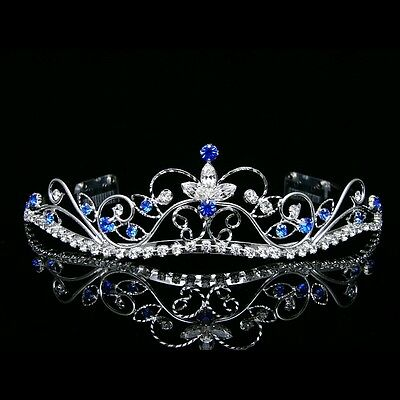 Silver Blue Bridal Rhinestones Crystal Prom Wedding Crown Tiara 8377