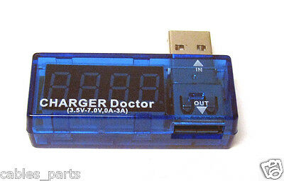 New USB Power Portable Mini Current Voltage Tester Detector Blue LRUS