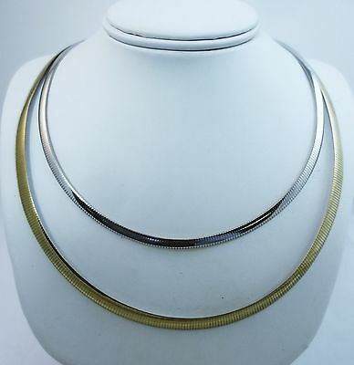 16,18,20 Inch, 4mm, 6mm Reversible Omega Necklace. Italian .925 Sterling Silver