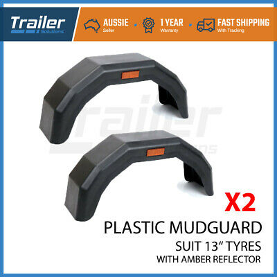 "Trailer Mudguard Plastic Pair  Suit 13"" Wheels Trailer Boat Caravan Atv"