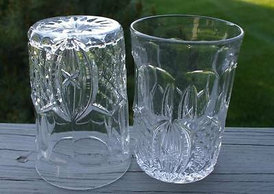 2 ANTIQUE EAPG 1890 OLD DIAMOND MEDALLION PANEL FLINT GLASS 8 oz  WATER TUMBLERS