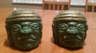 Olmec Crushed Malachite Heads (2) Statues gold accents Great Detail. Green.
