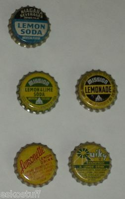 5 Soda Bottle caps - Lemon, Lemonette, Lemonade, Quiky, Lemon & Lime Soda Cork