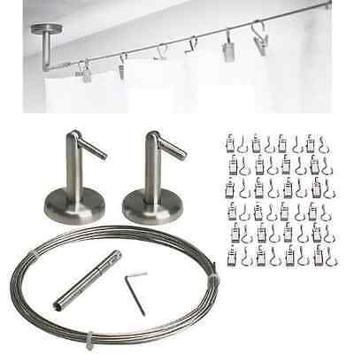 Curtain Wire Rod Set Stainless Steele Multi-purpose 16.5' Wire 2 Mounting Pieces