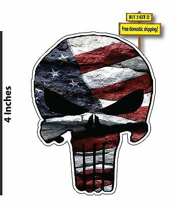 Punisher with American Flag, Patriotic Skull Decal/Sticker