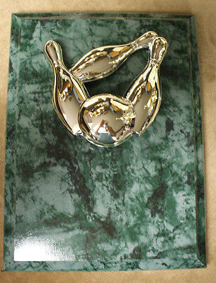 bowling plaque silver pins and ball 6 x 8 emerald green
