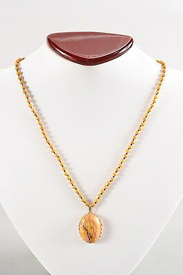 Fabulous Estate Natural Jasper & Cut Glass Necklace w/ Gold Plated Findings