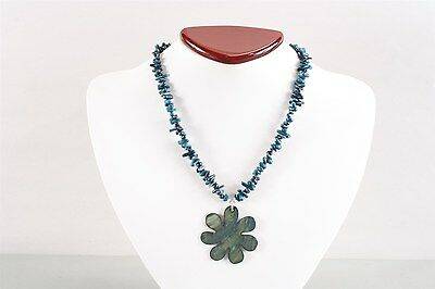 "Gorgeous Vintage Blue Dyed Natural Sea Coral & Mother of Pearl ""Daisy"" Necklace"