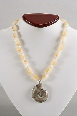 Gorgeous Vintage Genuine Natural Calcite Necklace with Ammonite Pendant