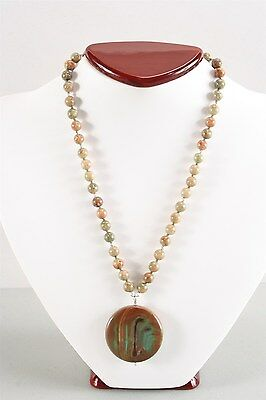 Gorgeous Vintage Autume & Variegated Jasper Bead Necklace
