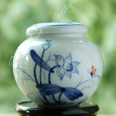 240ml Chinese JingDe Wonderful Porcelain Lotus Flower ball Tea Canisters Caddy