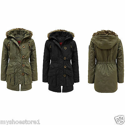 Girls Hooded Jacket Fur Quilted Padded Parka Military Winter School Rain Coat