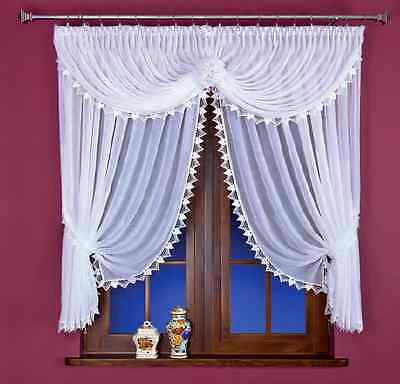 Beautiful White Voile Net Curtain with Lace, Home Window Decorations Ready Made