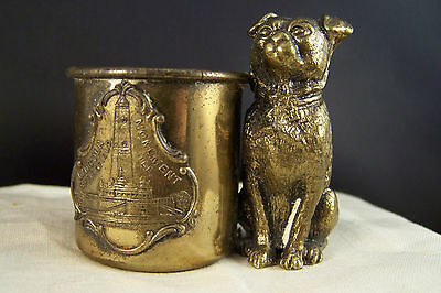 Vintage Souvenir of Springfield Illinois Metalware Toothpick Holder w Dog