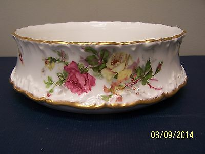 T & V Limoges Large Pudding Bowl with Large Roses