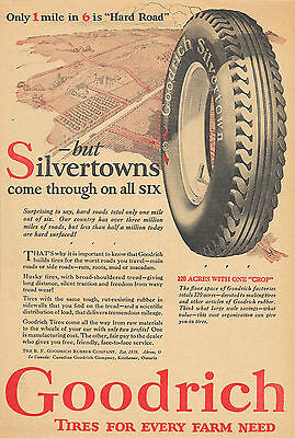 1927 GOODRICH SILVERTOWN TIRES AD 120 ACRE FACTORY 1 MILE IN 6 IS HARD ROAD