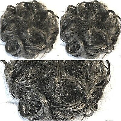 Hair Scrunchie Wrap Hairpiece Messy Bun Updo Dark Salt & Pepper Grey Natural