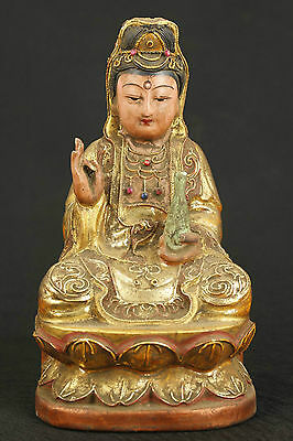 CHINA OLD WOOD COLLECTABLE HANDWORK GOLD PAINTING CARVED KWAN-YIN BUDDHA STATUE