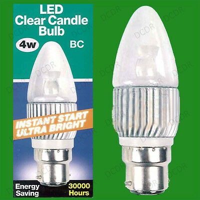 2x 4W Ultra Low Energy Candle LED Instant On Light Bulbs BC B22 Cool White 4000K