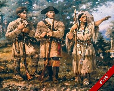 Lewis & Clark Explorers W Sacagawea Oil Painting Art Poster Print On Real Canvas