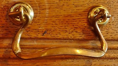 "Brass Drawer Bail Handle Set 3"" spacing1890s American Oak Style (Priced per set)"