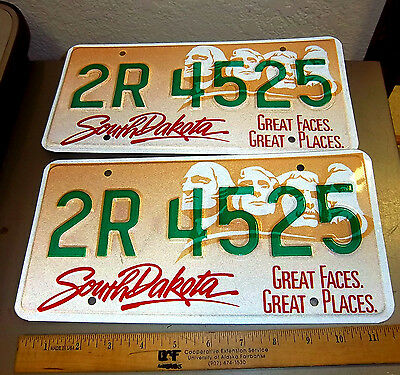 South Dakota Metal License Plate, Great Faces, Great Places 1994 Mint Pair!