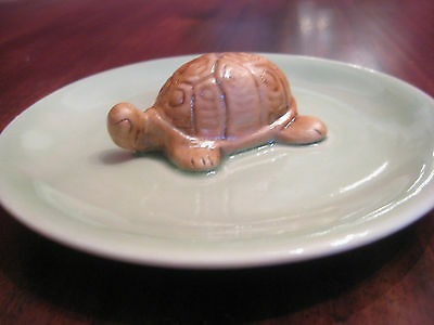 Siam Celadon Small Stoneware Plate with Turtle in Center