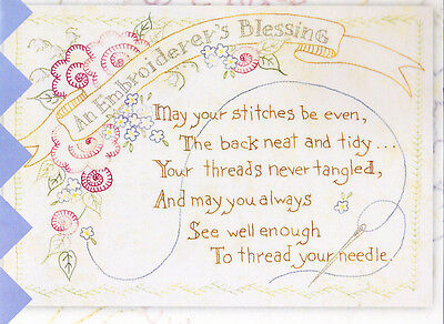 PATTERN -  An Embroiderer's Blessing - stitchery PATTERN - Crabapple Hill