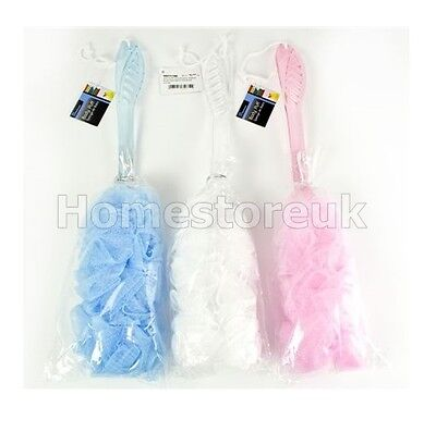 Loofah Bath Shower Back Body Puff Spa Scrubber Mesh Netting Brush Long Handle