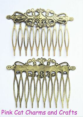 5 x Bronze Tone HAIR COMB VINTAGE SLIDE 65mm Jewellery Findings