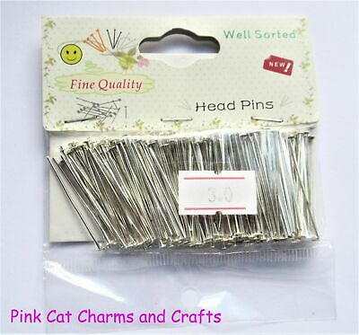 300 x Silver Plated HEADPINS HEAD PIN 30mm 0.7mm Gauge Jewellery Findings