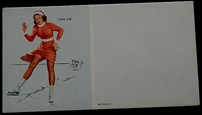 """Blank / Unused Advertising Blotter PIN-UP Picture """"THIN ICE"""""""
